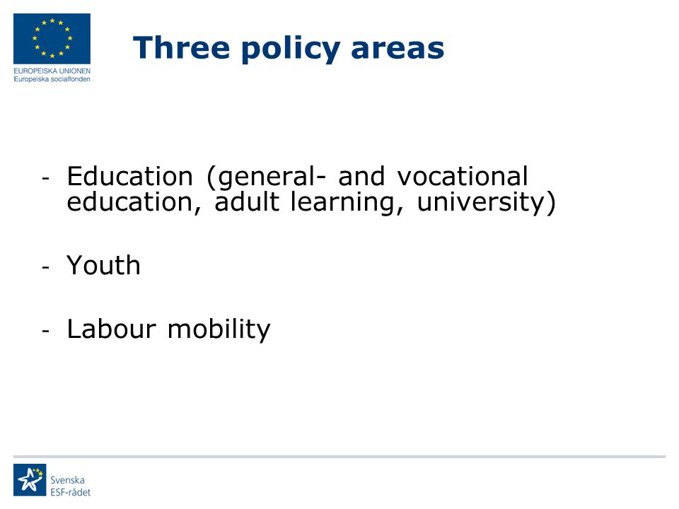 Three policy areas Education (general- and vocational education, adult learning, university) Youth.