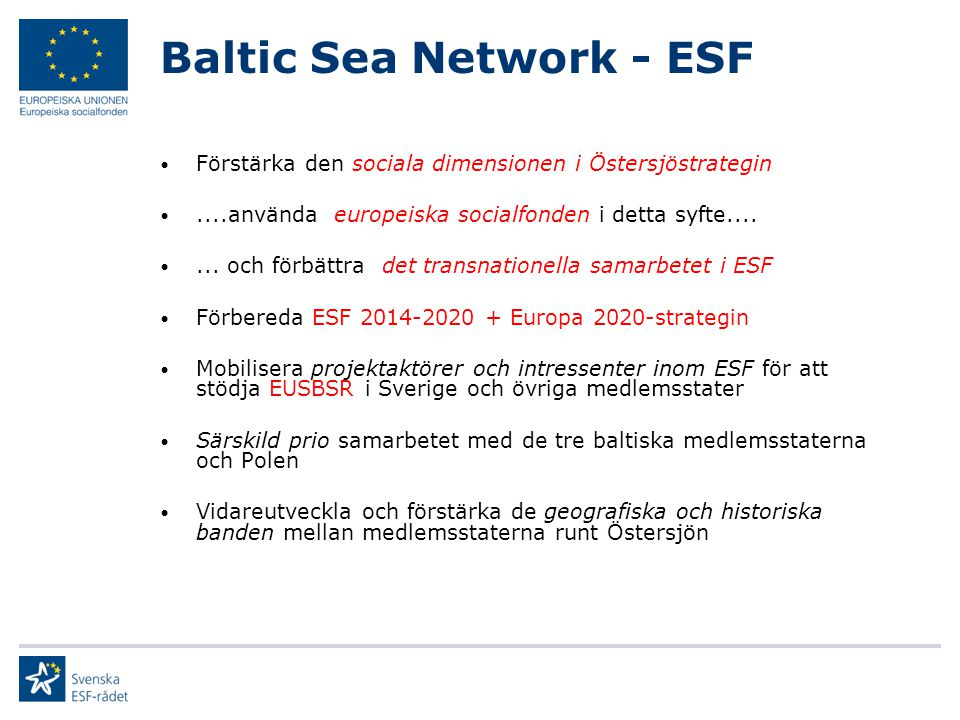 Baltic Sea Network - ESF