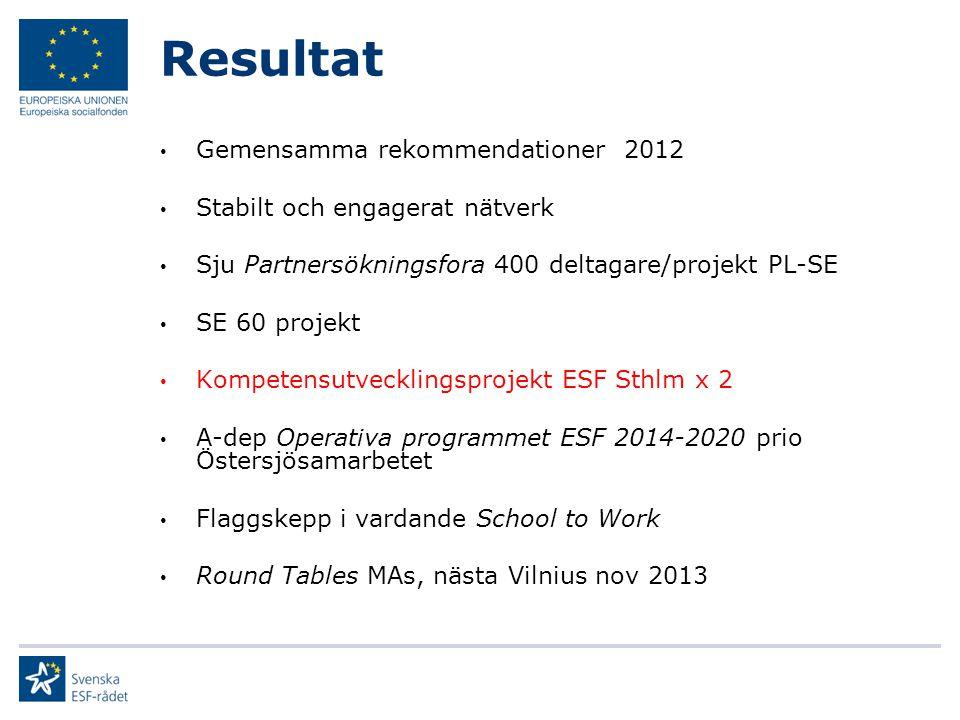 Resultat Gemensamma rekommendationer 2012