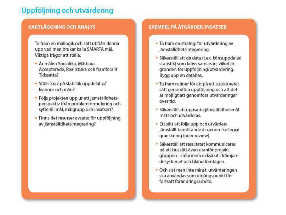 Uppföljning och utvärdering; Kartläggning och analys: