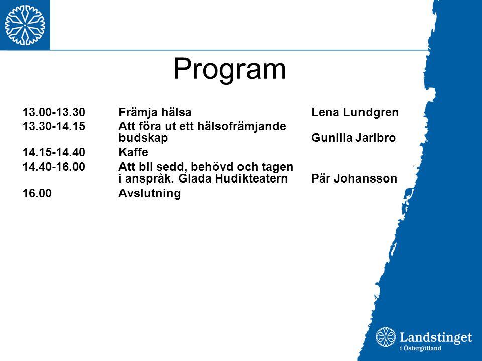Program 13.00-13.30 Främja hälsa Lena Lundgren