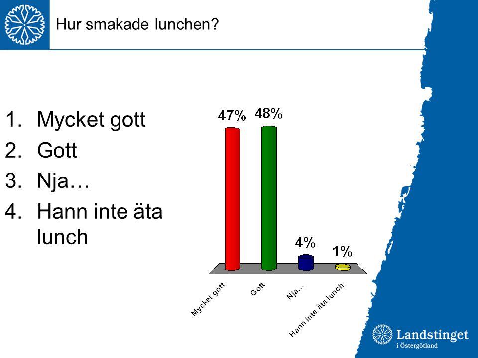 Hur smakade lunchen Mycket gott Gott Nja… Hann inte äta lunch