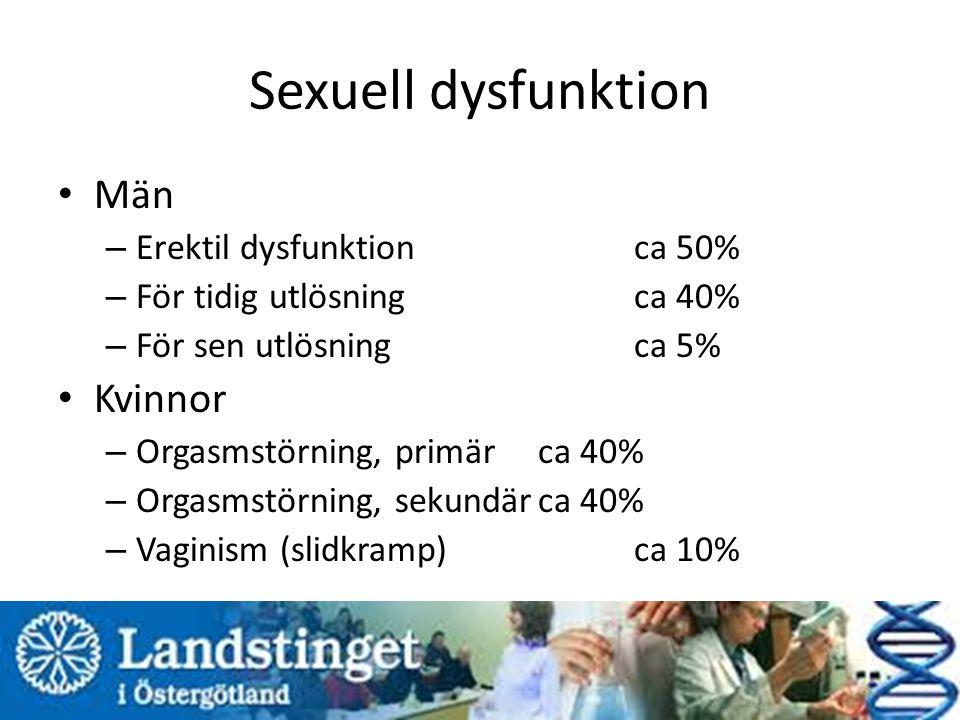 Sexuell dysfunktion Män Kvinnor Erektil dysfunktion ca 50%