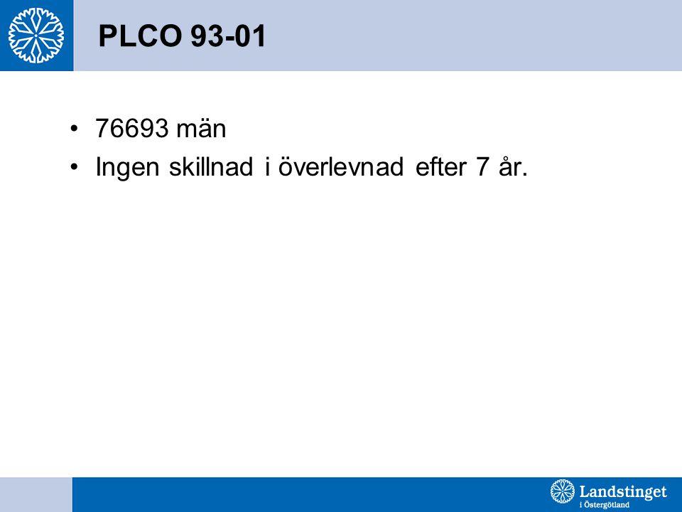 PLCO 93-01 76693 män Ingen skillnad i överlevnad efter 7 år.