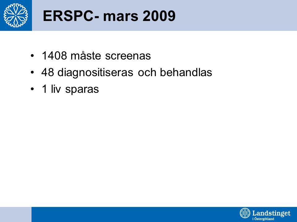 ERSPC- mars 2009 1408 måste screenas 48 diagnositiseras och behandlas
