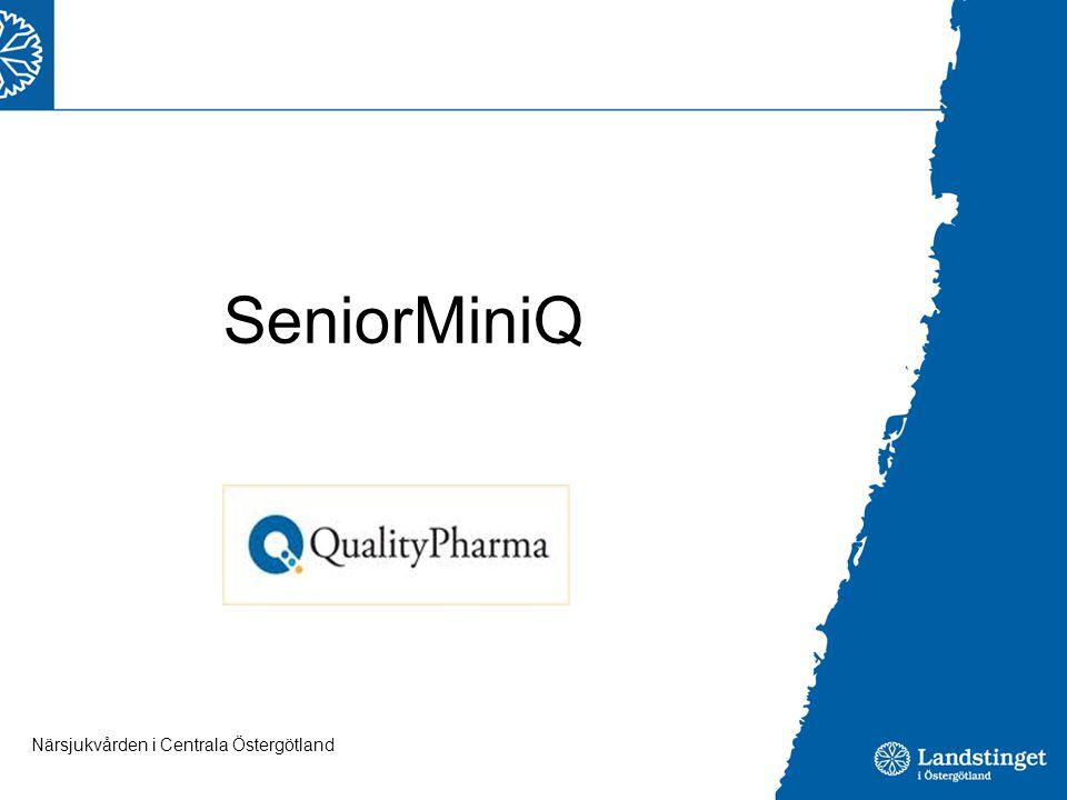 SeniorMiniQ Internetbaserat hjäpmedel för att systematiskt arbeta med läkemedelsgenomgångar. Pat fyller i lm (styrka dos ind samt symtom (20 st))
