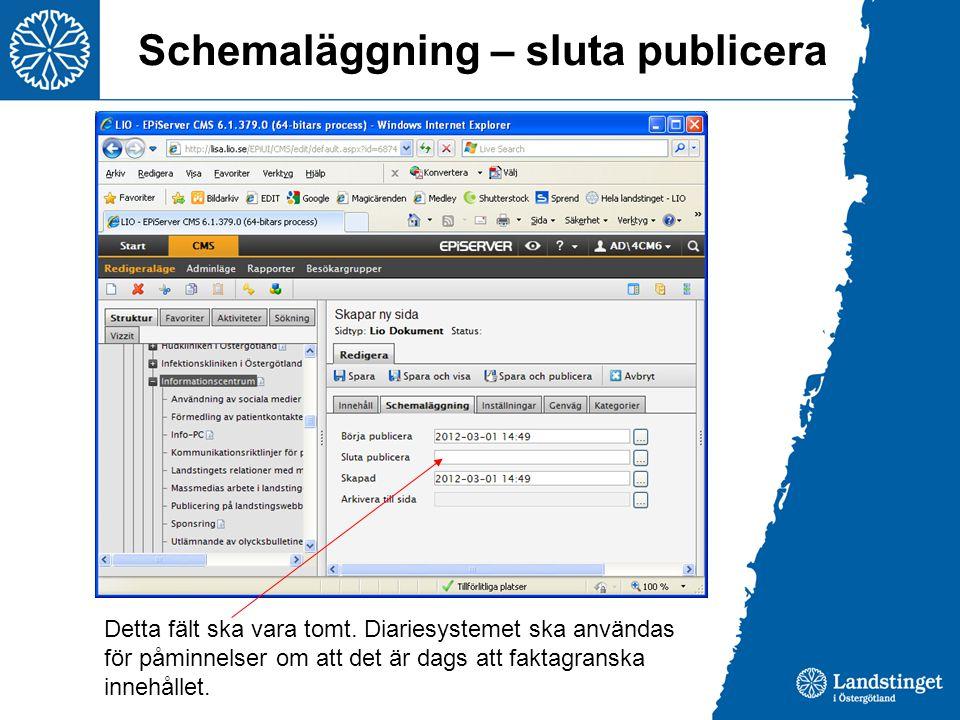 Schemaläggning – sluta publicera