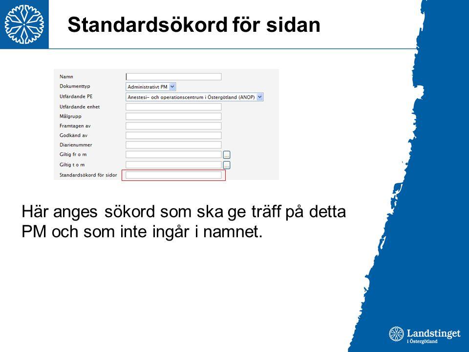 Standardsökord för sidan