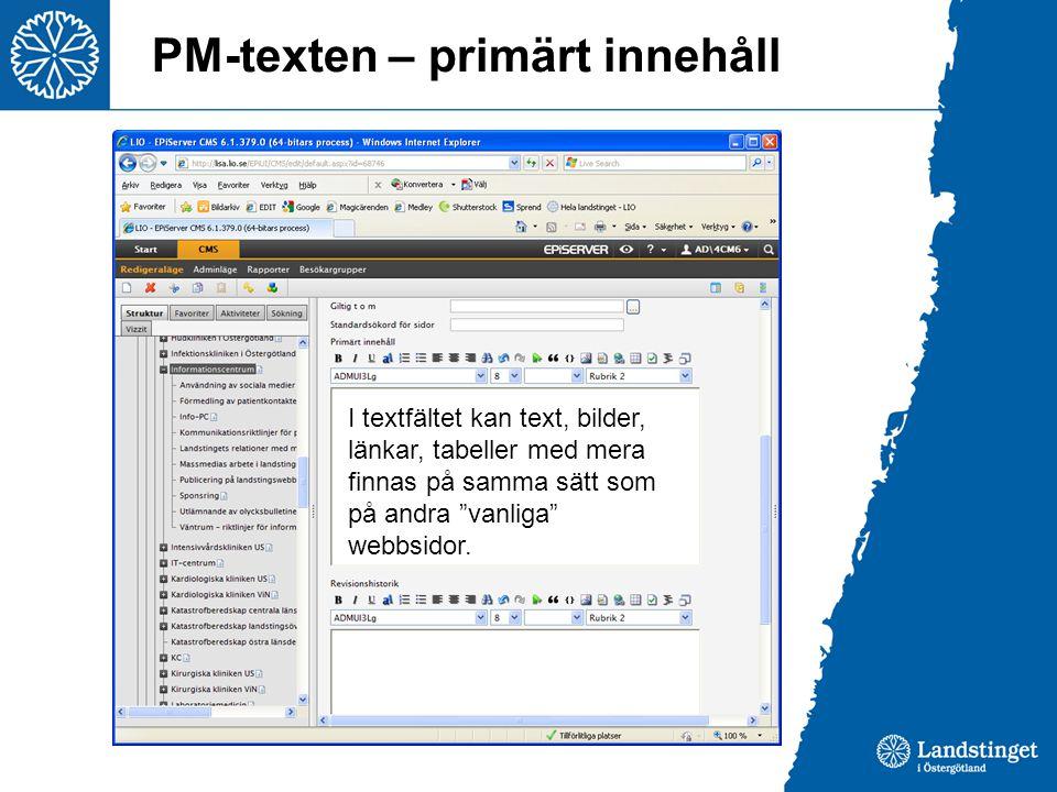 PM-texten – primärt innehåll