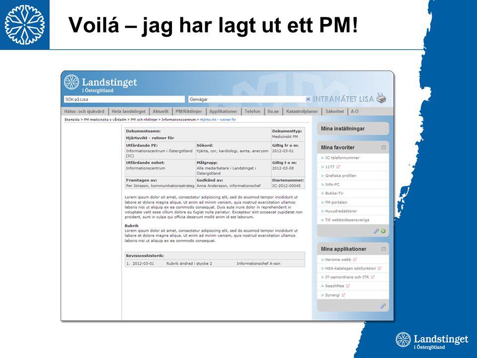 Voilá – jag har lagt ut ett PM!