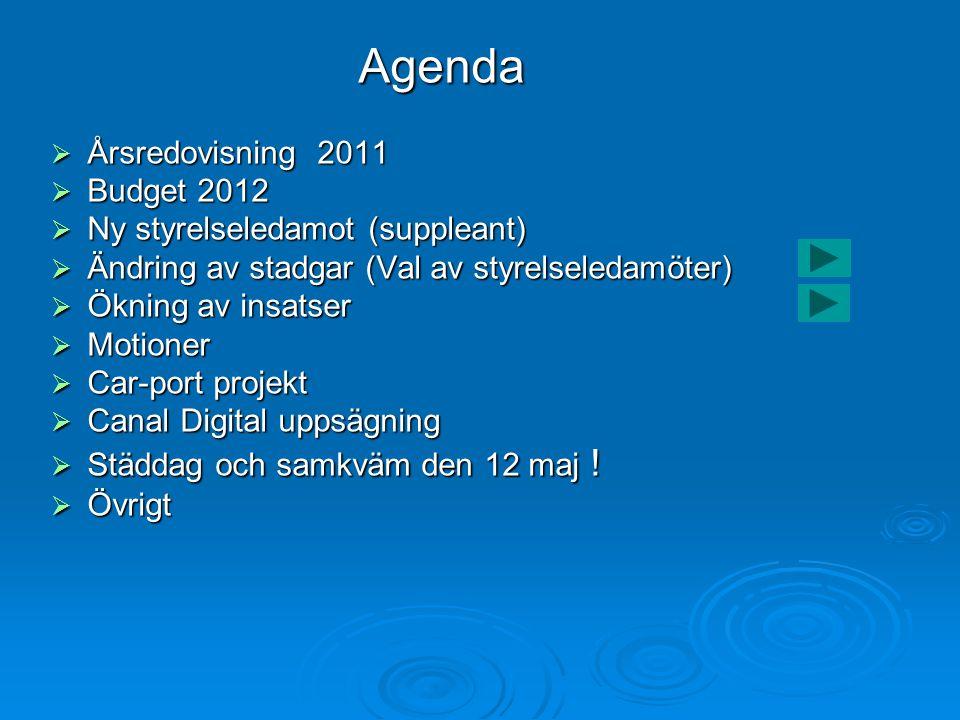 Agenda Årsredovisning 2011 Budget 2012 Ny styrelseledamot (suppleant)