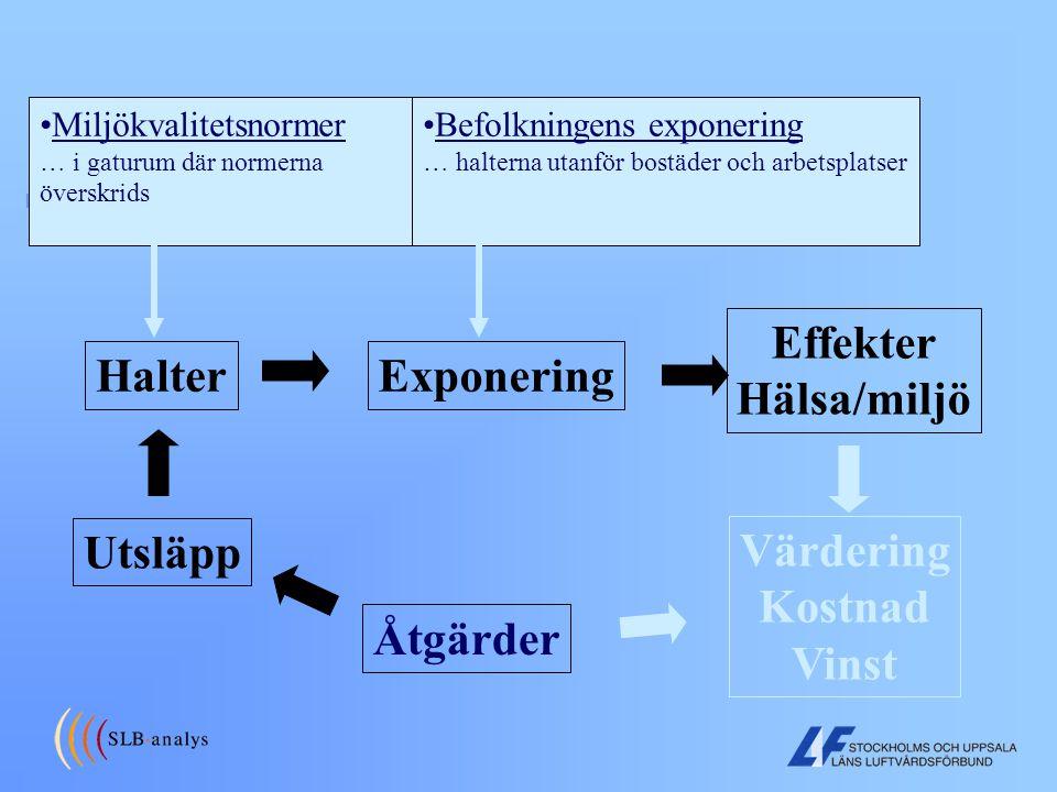Effekter Hälsa/miljö Halter Exponering Utsläpp Värdering Kostnad Vinst