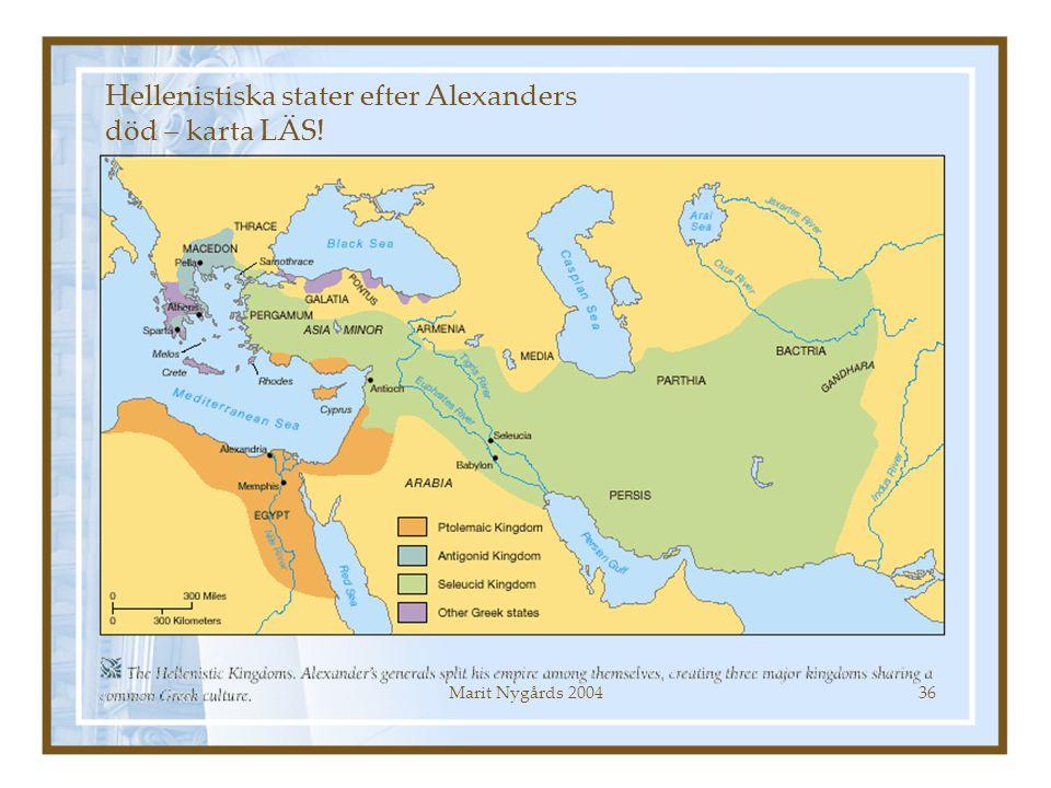 Hellenistiska stater efter Alexanders död – karta LÄS!