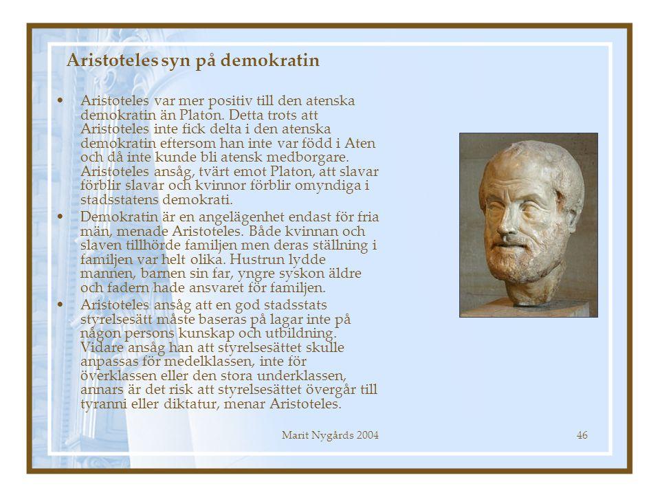Aristoteles syn på demokratin