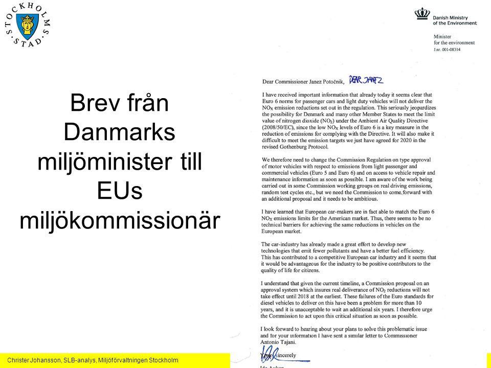 Brev från Danmarks miljöminister till EUs miljökommissionär