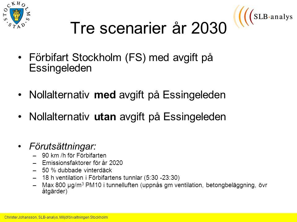 Tre scenarier år 2030 Förbifart Stockholm (FS) med avgift på Essingeleden. Nollalternativ med avgift på Essingeleden.