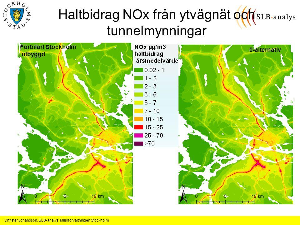 Haltbidrag NOx från ytvägnät och tunnelmynningar