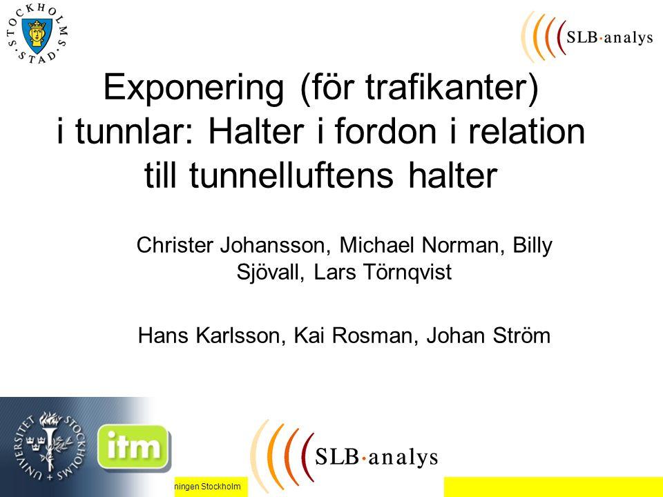 Exponering (för trafikanter) i tunnlar: Halter i fordon i relation till tunnelluftens halter