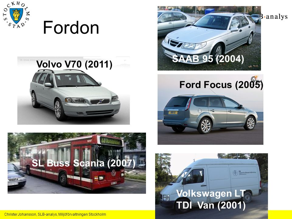 Fordon SAAB 95 (2004) Volvo V70 (2011) Ford Focus (2005)