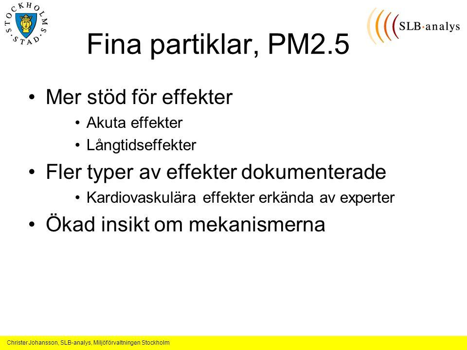 Fina partiklar, PM2.5 Mer stöd för effekter