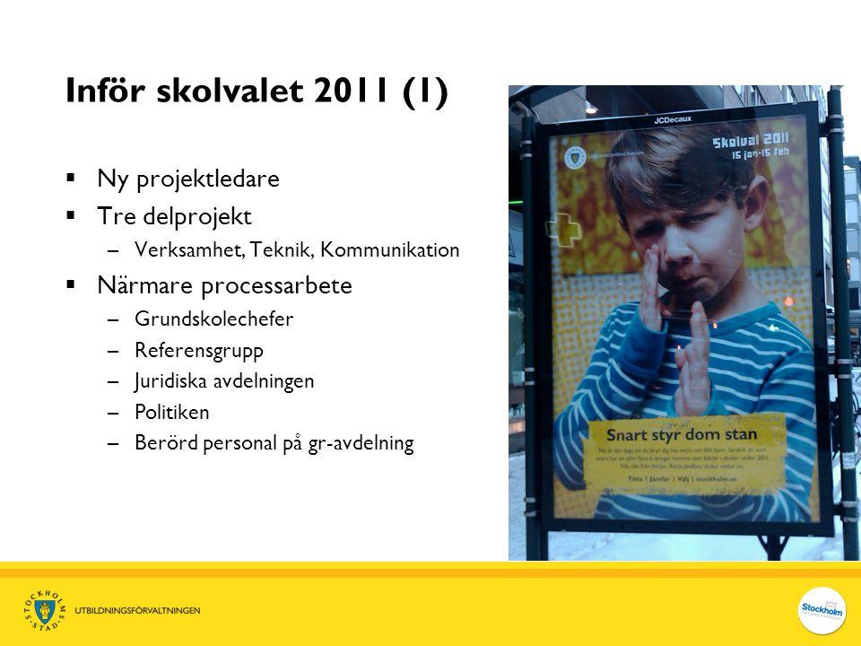 Inför skolvalet 2011 (1) Ny projektledare Tre delprojekt