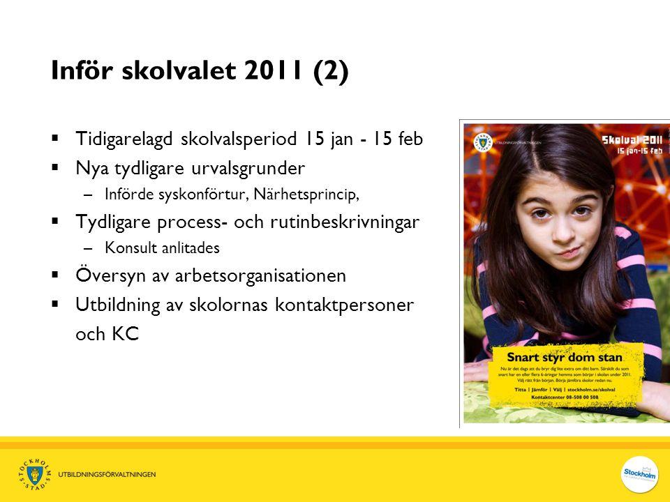 Inför skolvalet 2011 (2) Tidigarelagd skolvalsperiod 15 jan - 15 feb