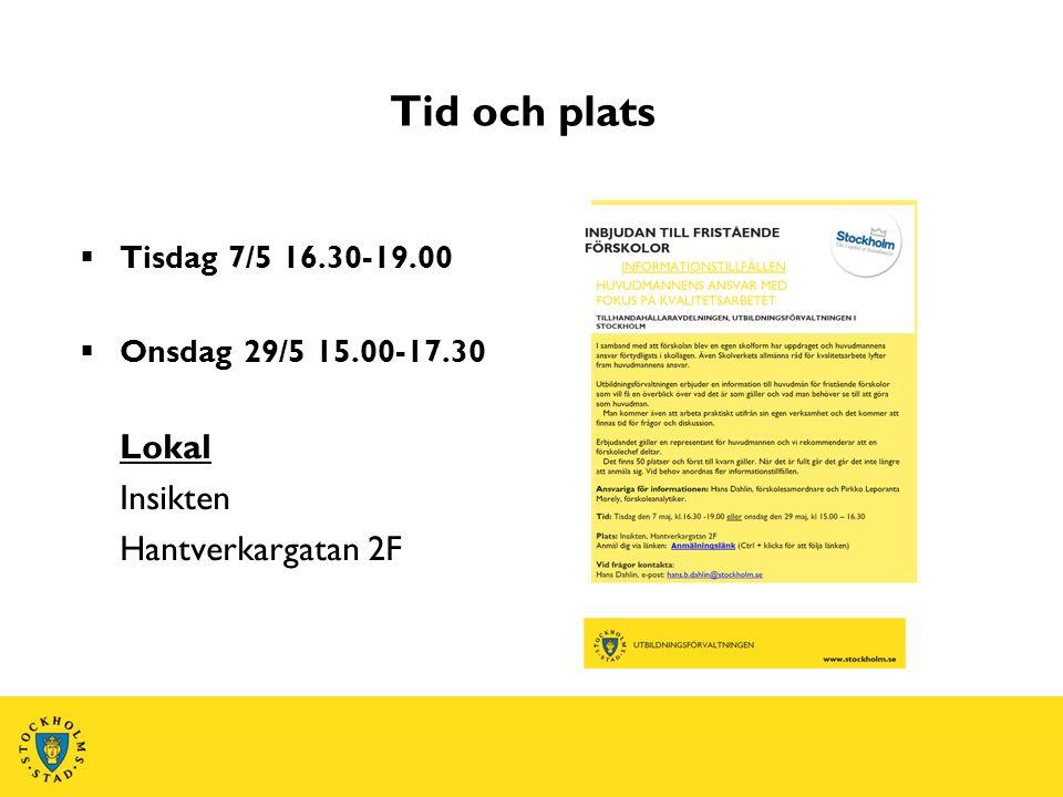 Tid och plats Lokal Insikten Hantverkargatan 2F Tisdag 7/5 16.30-19.00