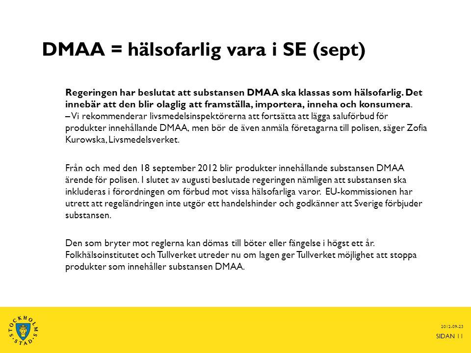 DMAA = hälsofarlig vara i SE (sept)