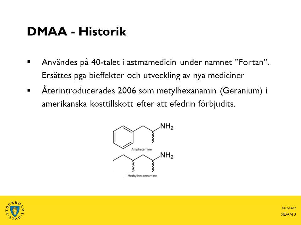 DMAA - Historik Användes på 40-talet i astmamedicin under namnet Fortan . Ersättes pga bieffekter och utveckling av nya mediciner.
