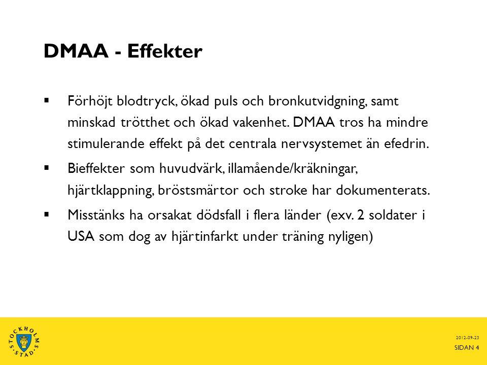 DMAA - Effekter