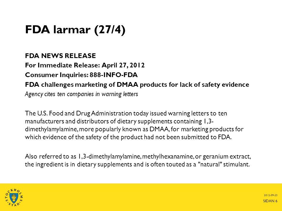 FDA larmar (27/4)