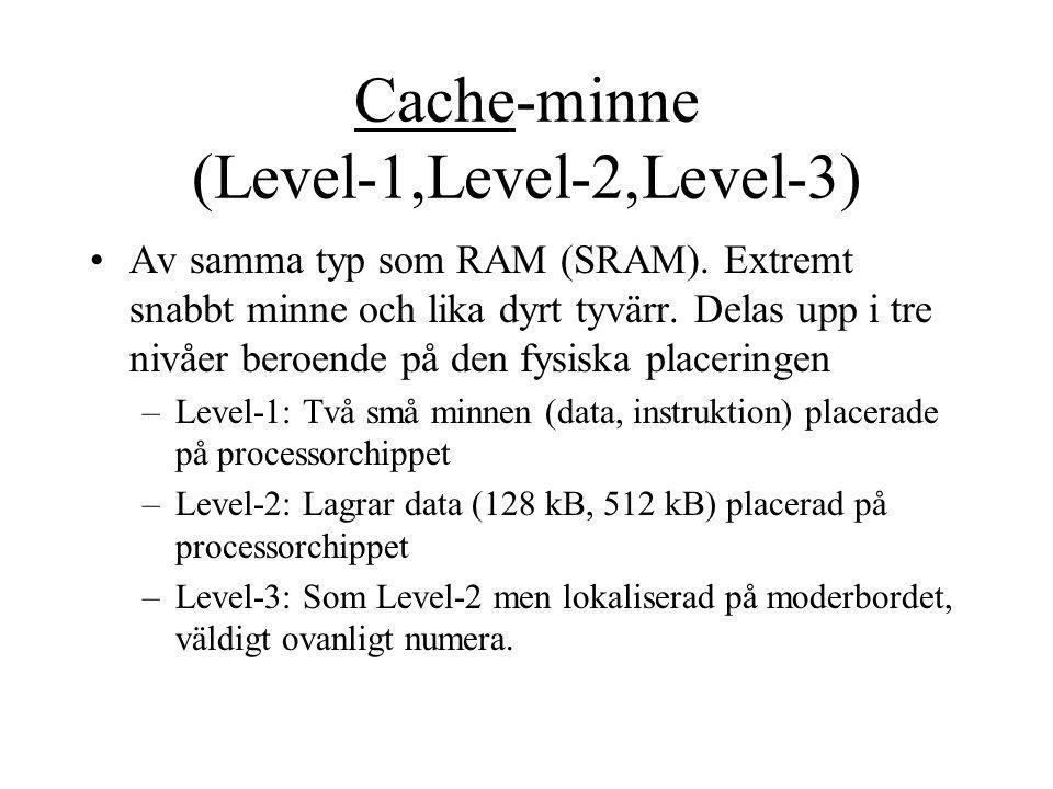 Cache-minne (Level-1,Level-2,Level-3)