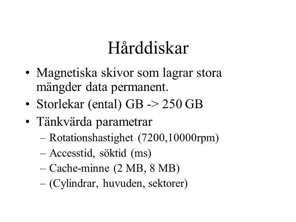 Hårddiskar Magnetiska skivor som lagrar stora mängder data permanent.