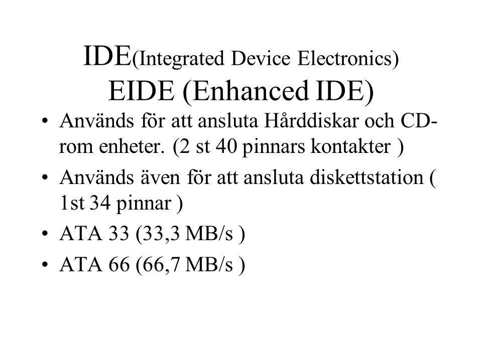 IDE(Integrated Device Electronics) EIDE (Enhanced IDE)