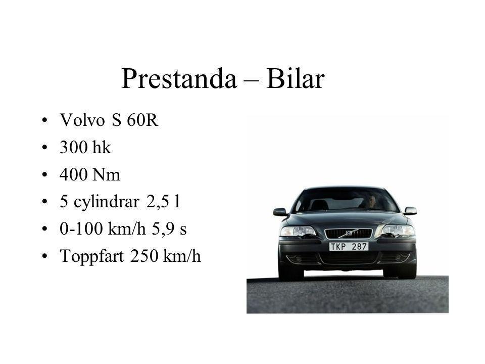 Prestanda – Bilar Volvo S 60R 300 hk 400 Nm 5 cylindrar 2,5 l
