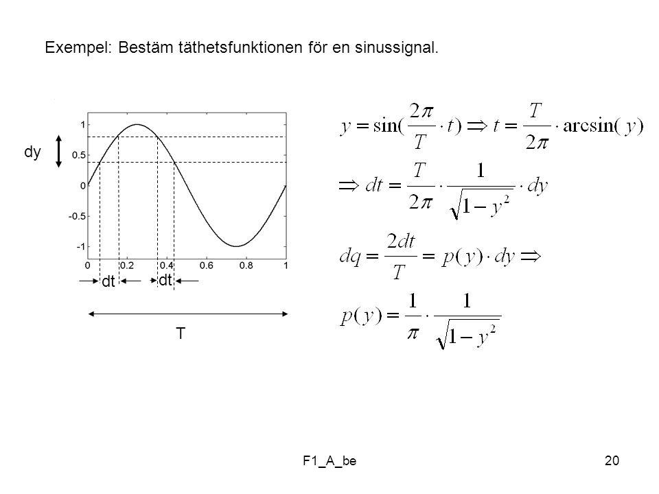 Exempel: Bestäm täthetsfunktionen för en sinussignal.