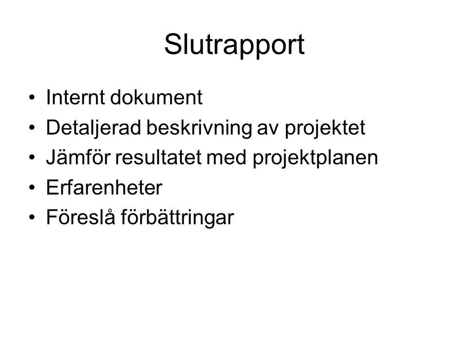 Slutrapport Internt dokument Detaljerad beskrivning av projektet