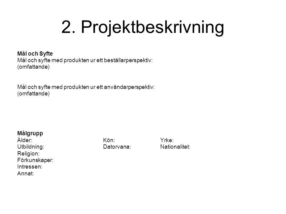 2. Projektbeskrivning Mål och Syfte