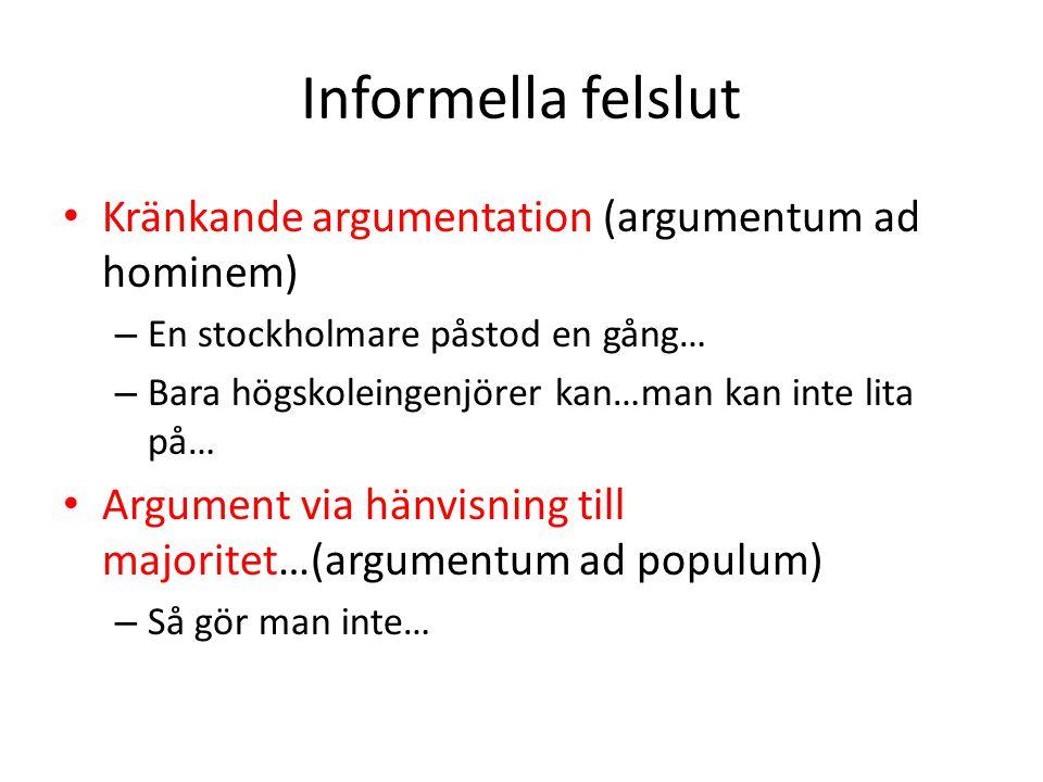 Informella felslut Kränkande argumentation (argumentum ad hominem)