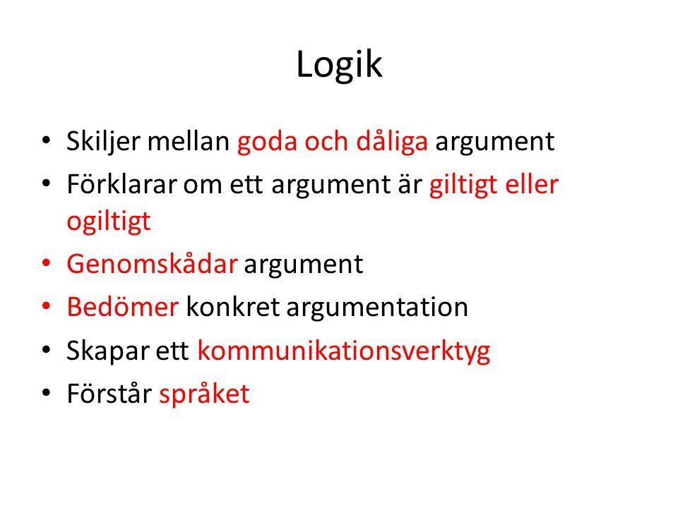 Logik Skiljer mellan goda och dåliga argument