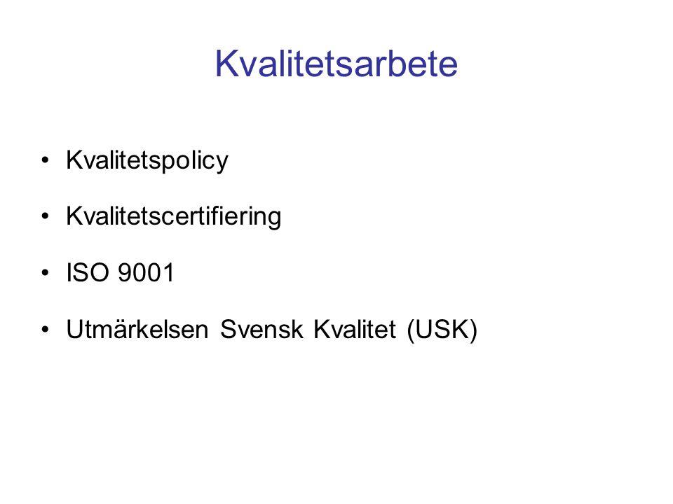 Kvalitetsarbete Kvalitetspolicy Kvalitetscertifiering ISO 9001