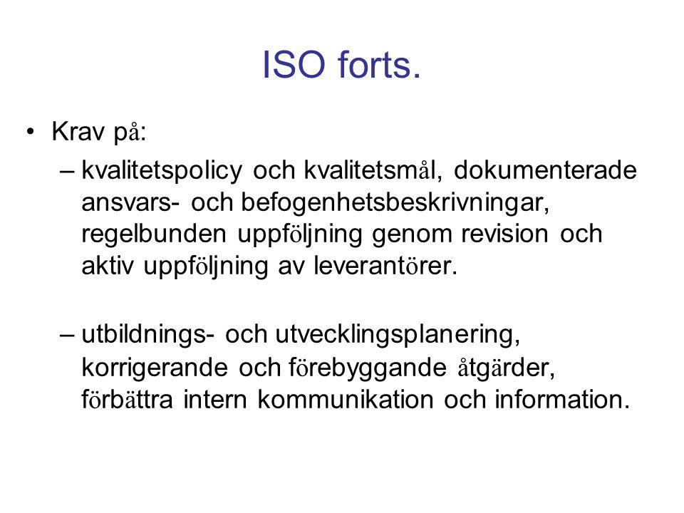ISO forts. Krav på: