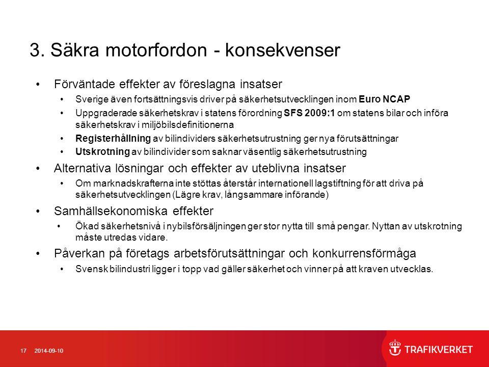 3. Säkra motorfordon - konsekvenser
