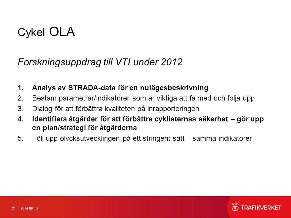 Cykel OLA Forskningsuppdrag till VTI under 2012