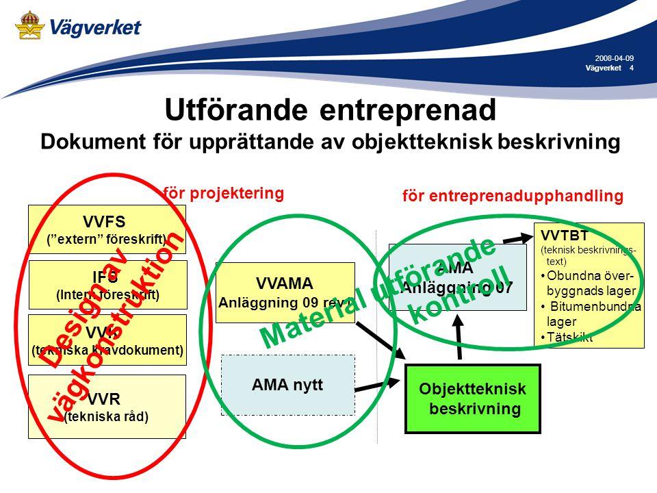 2008-04-09 Vägverket. Utförande entreprenad Dokument för upprättande av objektteknisk beskrivning.