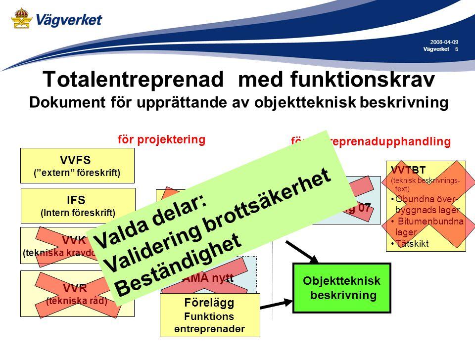 2008-04-09 Vägverket. Totalentreprenad med funktionskrav Dokument för upprättande av objektteknisk beskrivning.