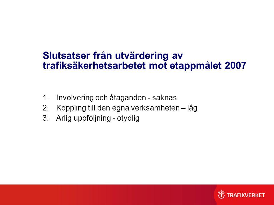 Slutsatser från utvärdering av trafiksäkerhetsarbetet mot etappmålet 2007