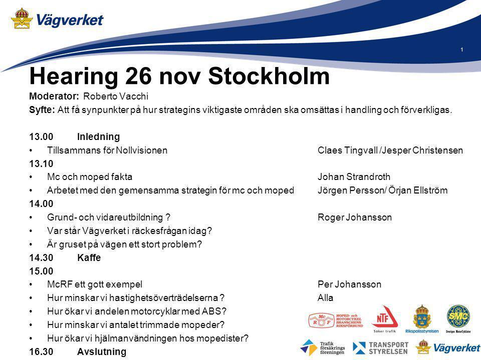 Hearing 26 nov Stockholm Moderator: Roberto Vacchi