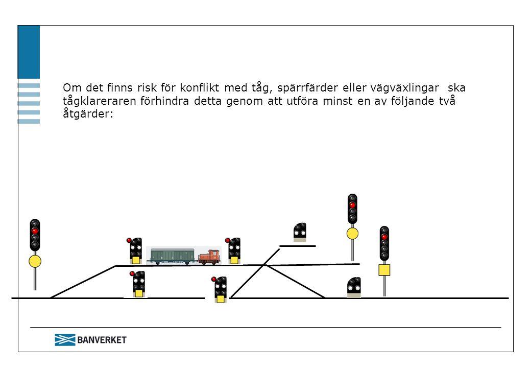 Om det finns risk för konflikt med tåg, spärrfärder eller vägväxlingar ska tågklareraren förhindra detta genom att utföra minst en av följande två åtgärder: