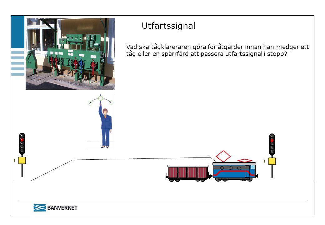 Utfartssignal Vad ska tågklareraren göra för åtgärder innan han medger ett tåg eller en spärrfärd att passera utfartssignal i stopp